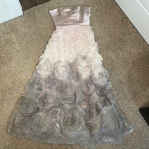 MARCHESA NOTTE CREAM SILK STRAPLESS 3D ROSE TULLE DRESS SIZE 4